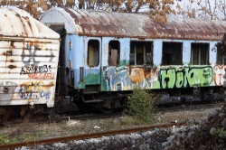 Rotting carriages near Sofia Central station